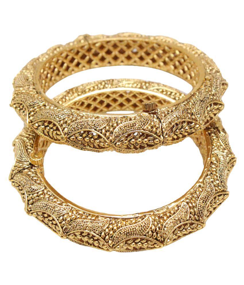 eklavya Womens' Brass Gold Pair Of Bangles