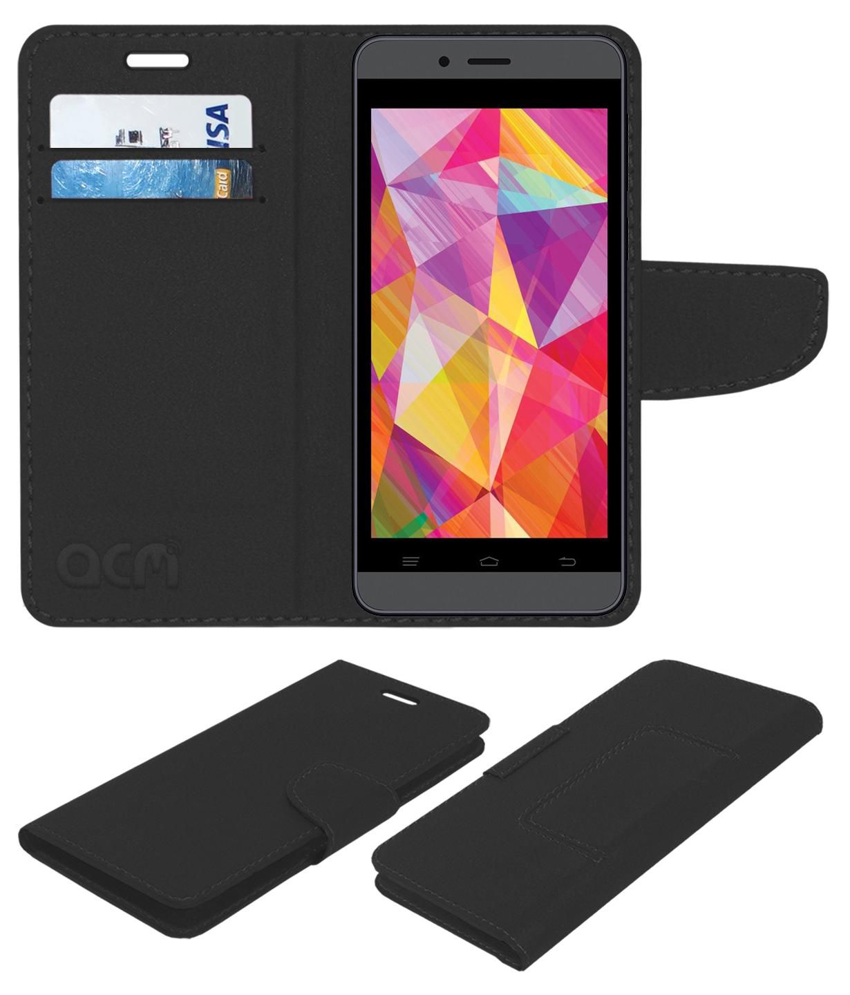 Intex Aqua Q7 Flip Cover by ACM - Black