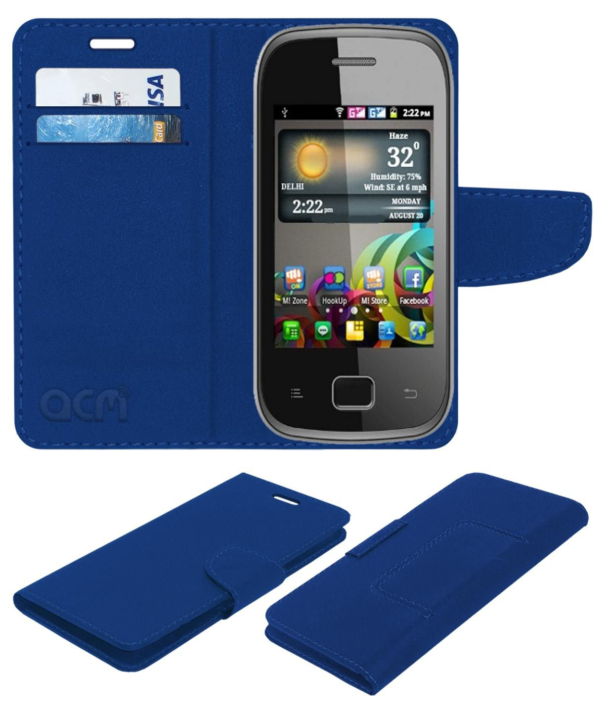 Micromax A25 Flip Cover by ACM - Blue