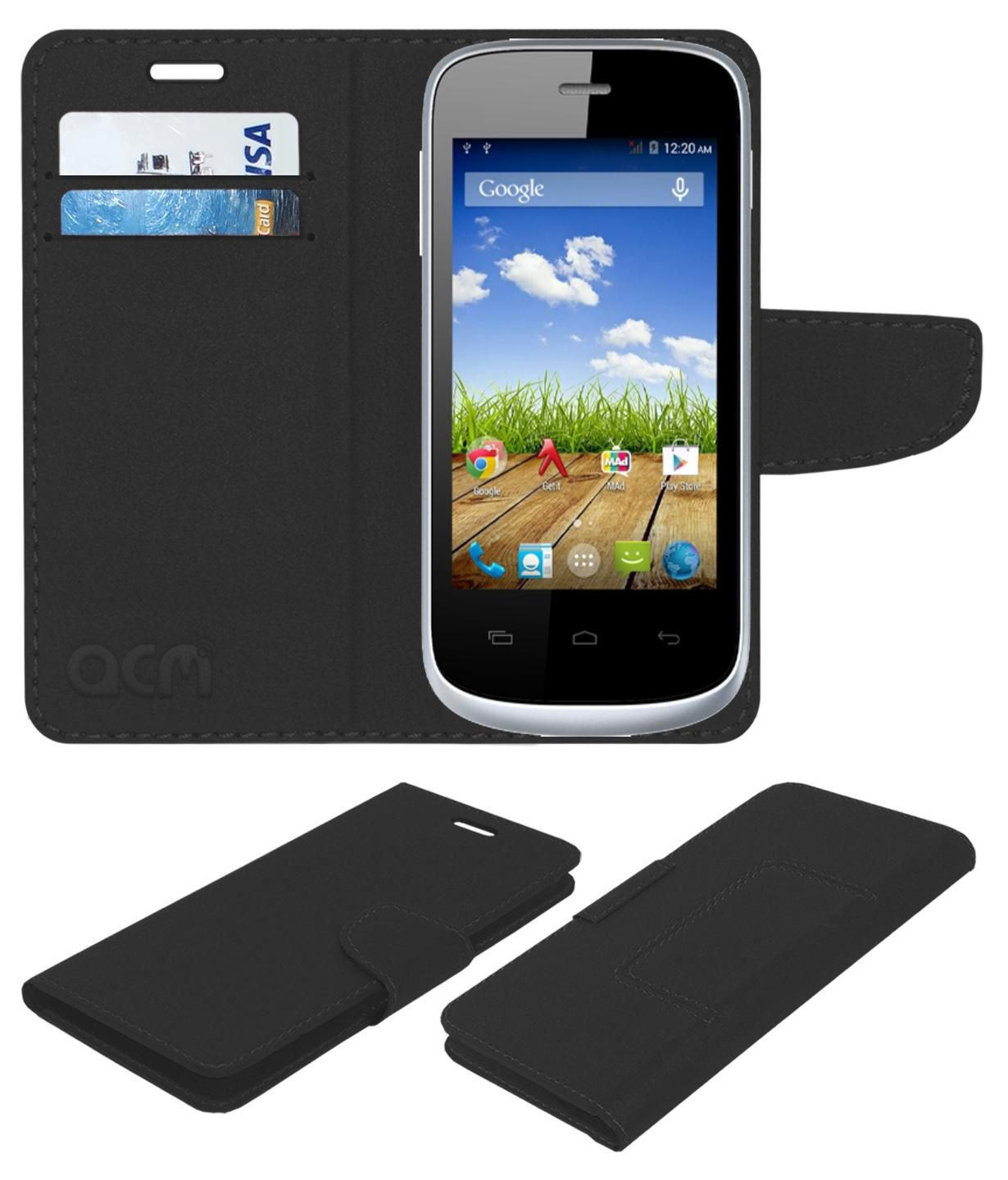 best service 82de6 92804 Micromax Bolt A064 Flip Cover by ACM - Black