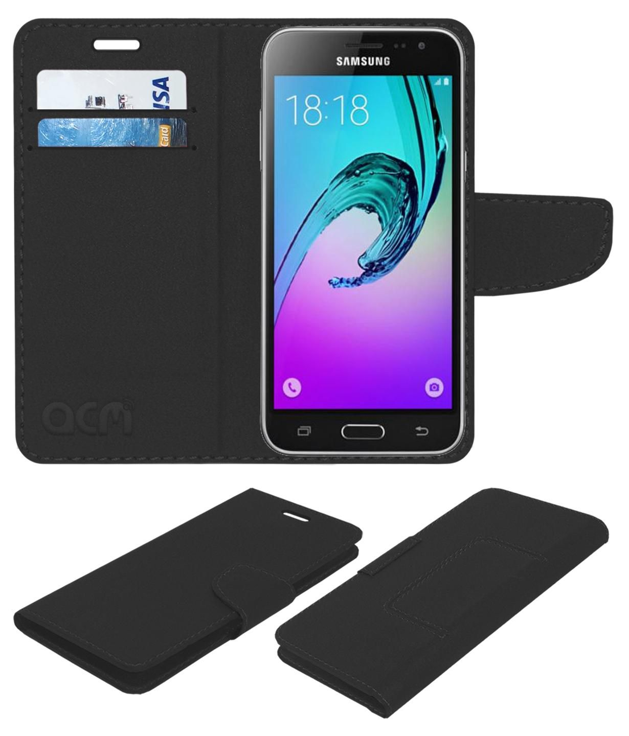 Samsung Galaxy J3 2016 Flip Cover by ACM - Black