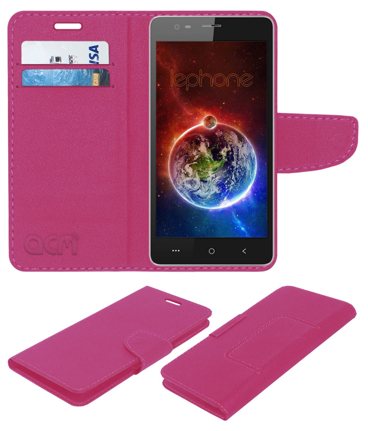 LEPHONE W7 Flip Cover by ACM - Pink