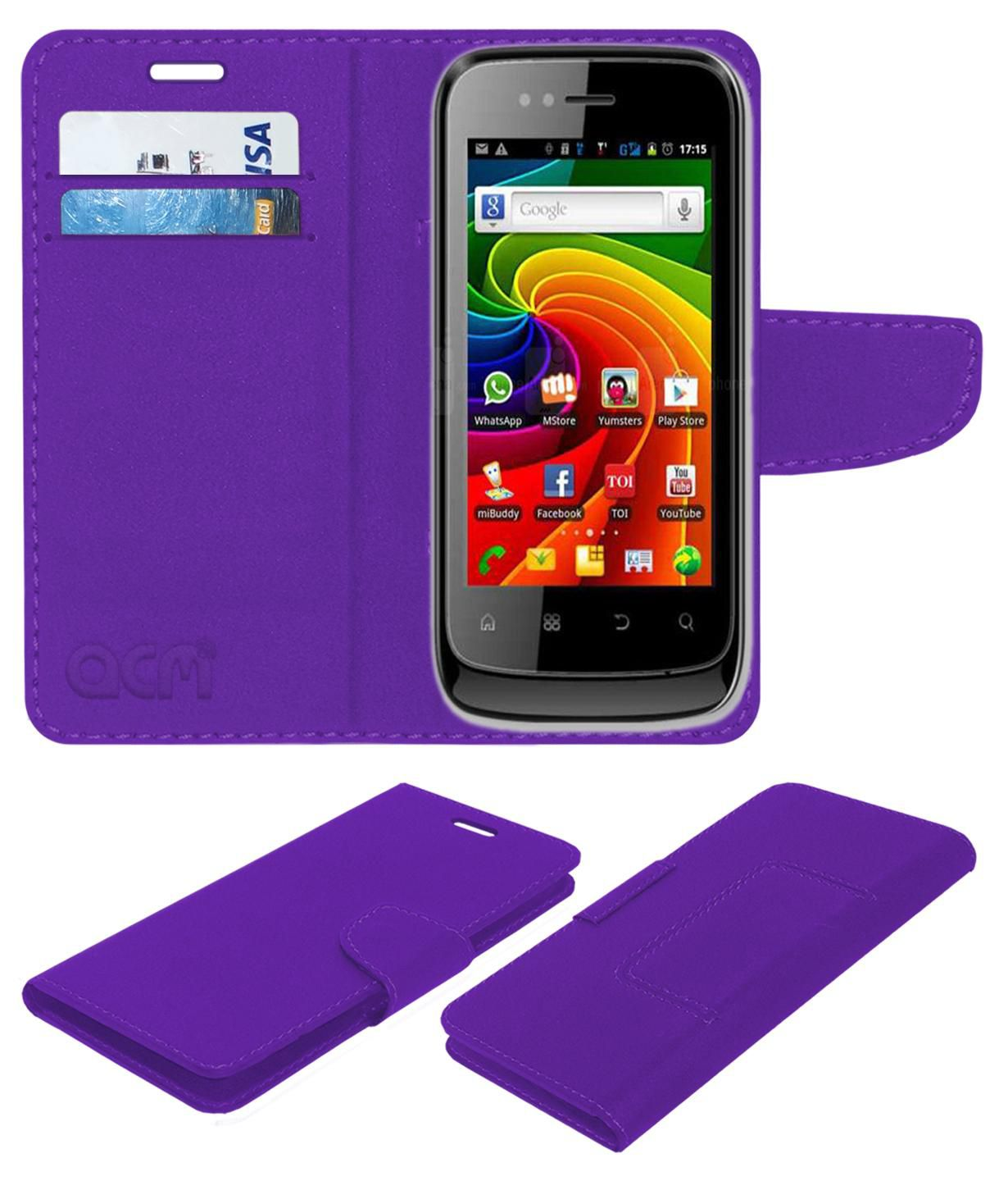 Micromax Superfone A45 Punk Flip Cover by ACM - Purple