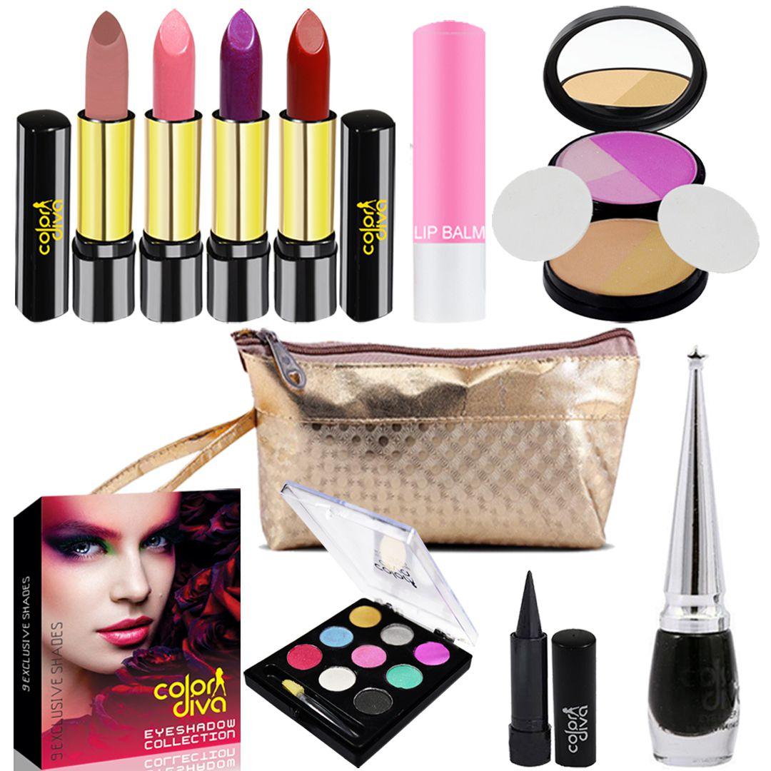 Adbeni Combo With Lipstick, Eyeshadow,Compact,Eyeliner,Kajal,Lip Balm Makeup Kit no.s Pack of 9: Buy Adbeni Combo With Lipstick, Eyeshadow,Compact,Eyeliner ...