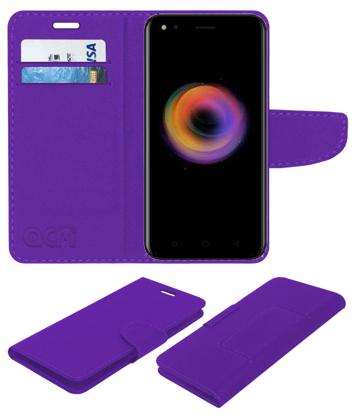 Micromax Canvas 1 Flip Cover by ACM - Purple
