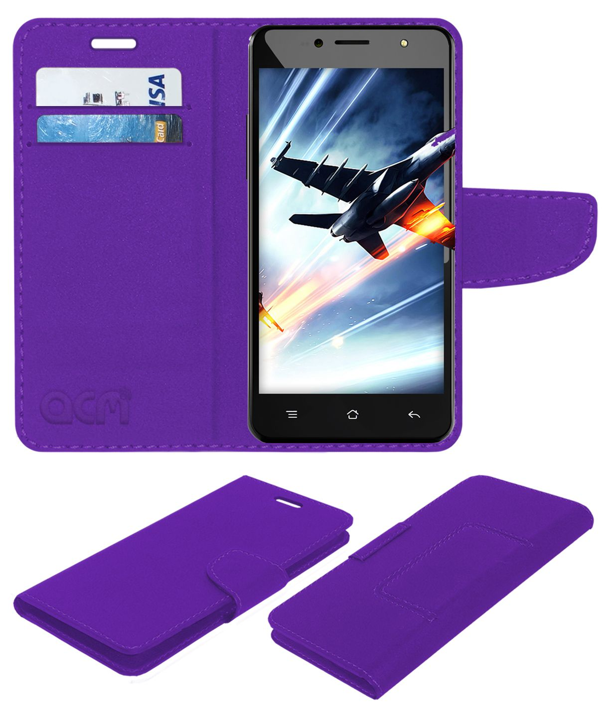 iberry Auxus Stunner Flip Cover by ACM - Purple