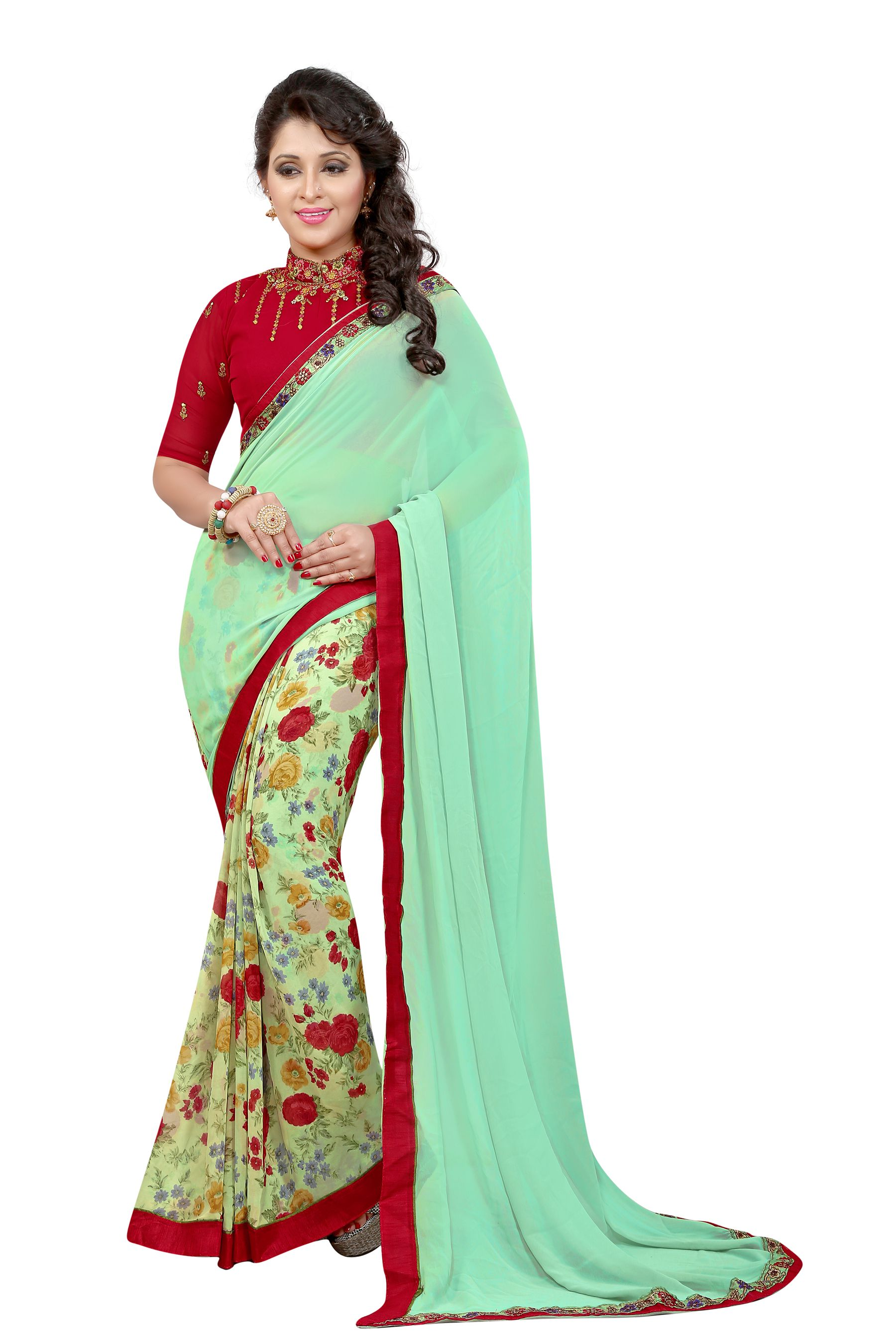 Greenvilla Designs Turquoise Georgette Saree