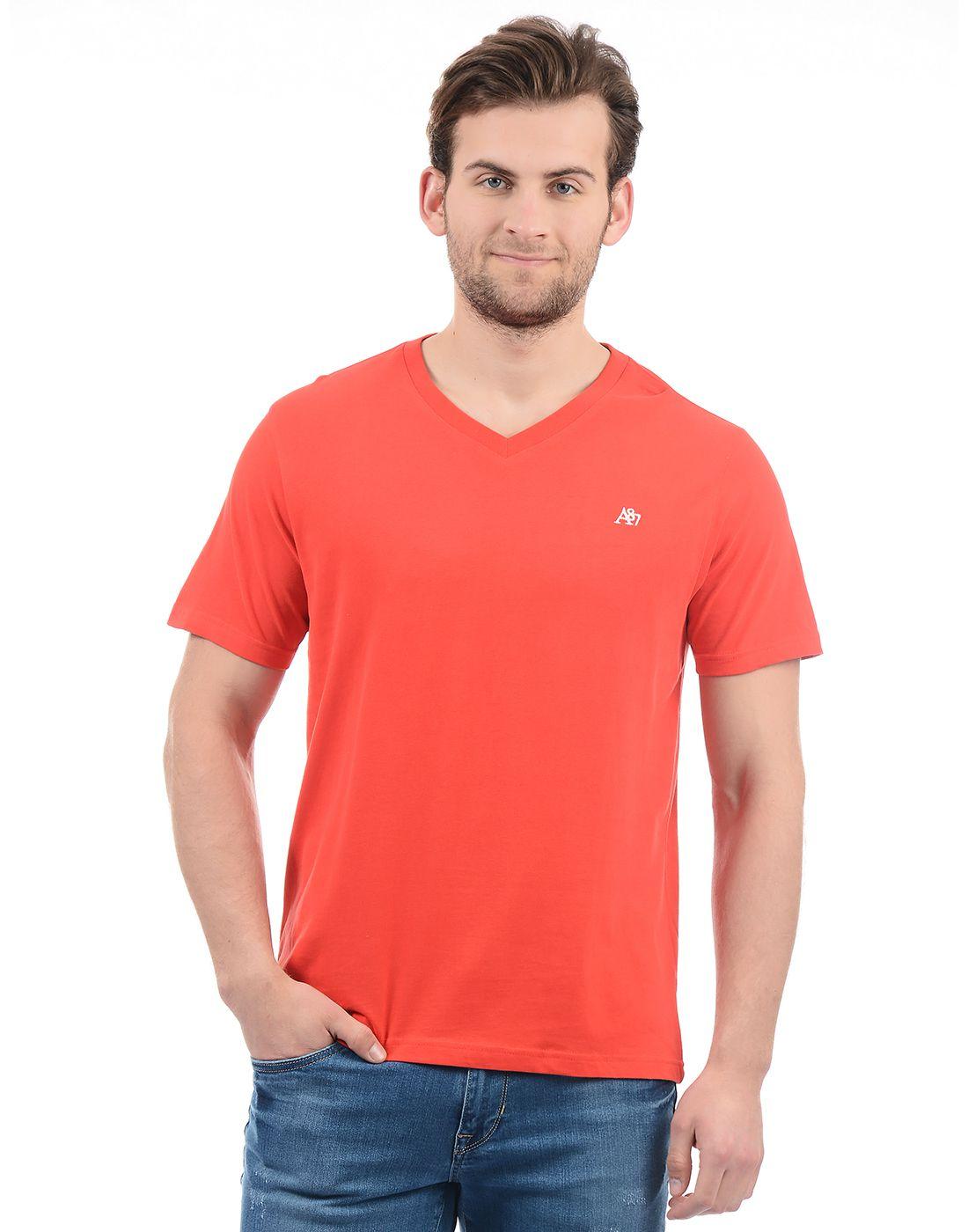 Aeropostale Red V-Neck T-Shirt