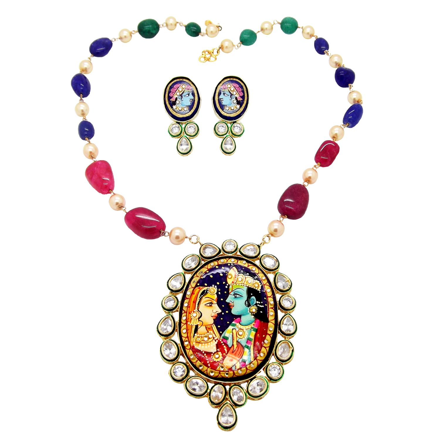 Biyu Radha Krishna Handpainted Multigem Kundan Ad Necklace Set