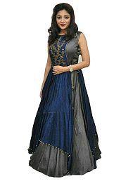 SERENEVA SALES Grey Bangalore Silk Anarkali Semi-Stitched Suit