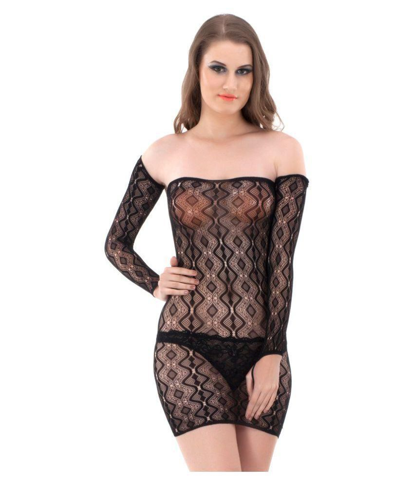 Luste Net Baby Doll Dresses With Panty - Black