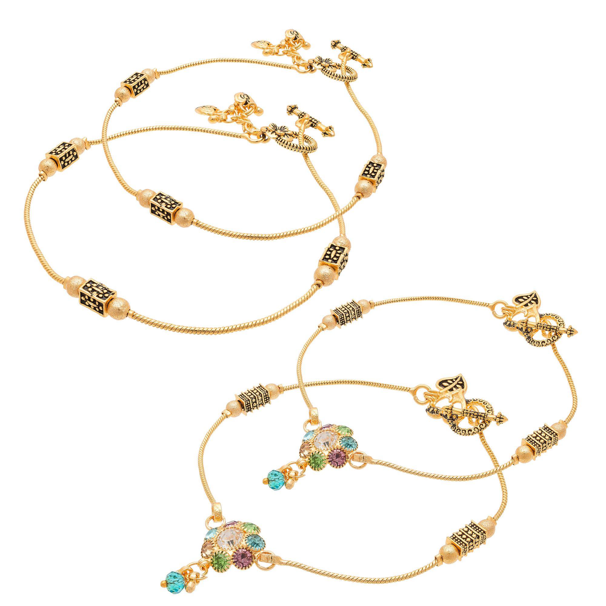 Pankh Brass Golden Diamond Anklets Combo-311