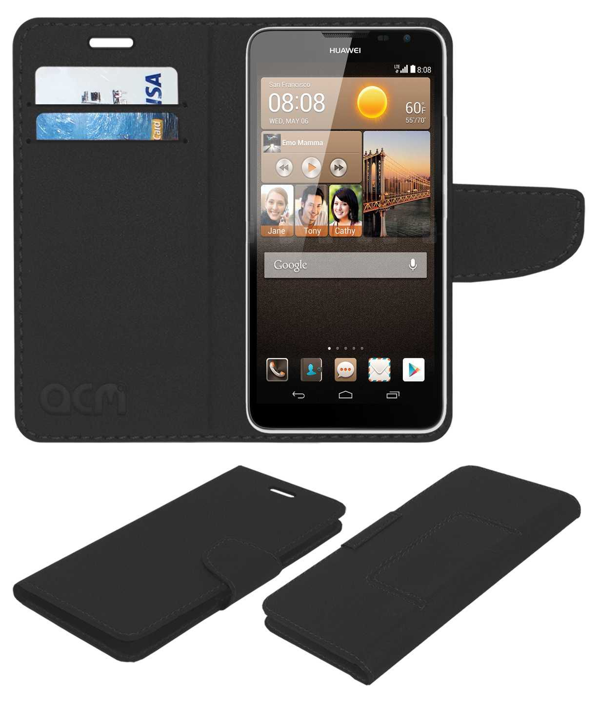 Huawei Ascend Mate2 4G Flip Cover by ACM - Black