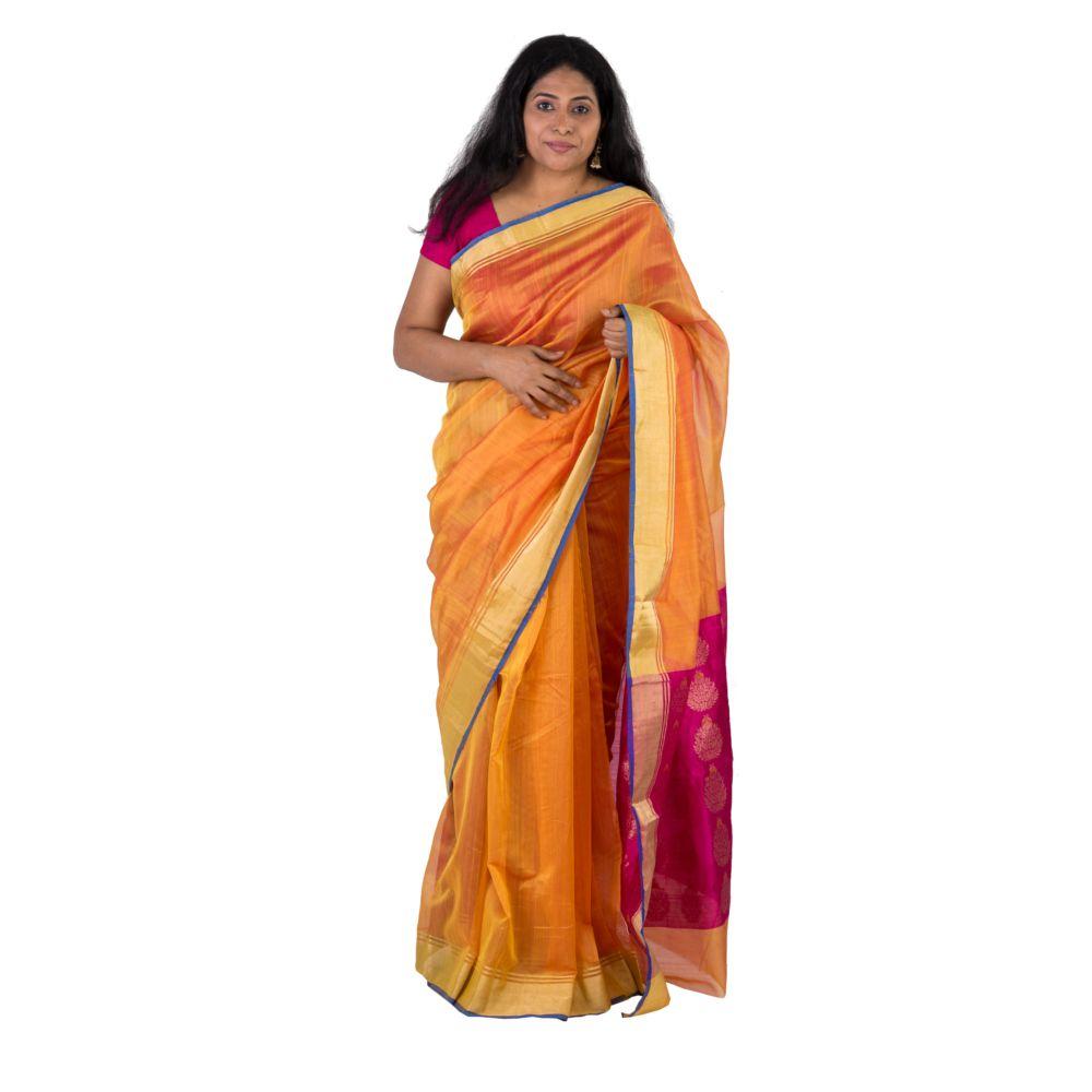Indo Mood Peach Chanderi Saree