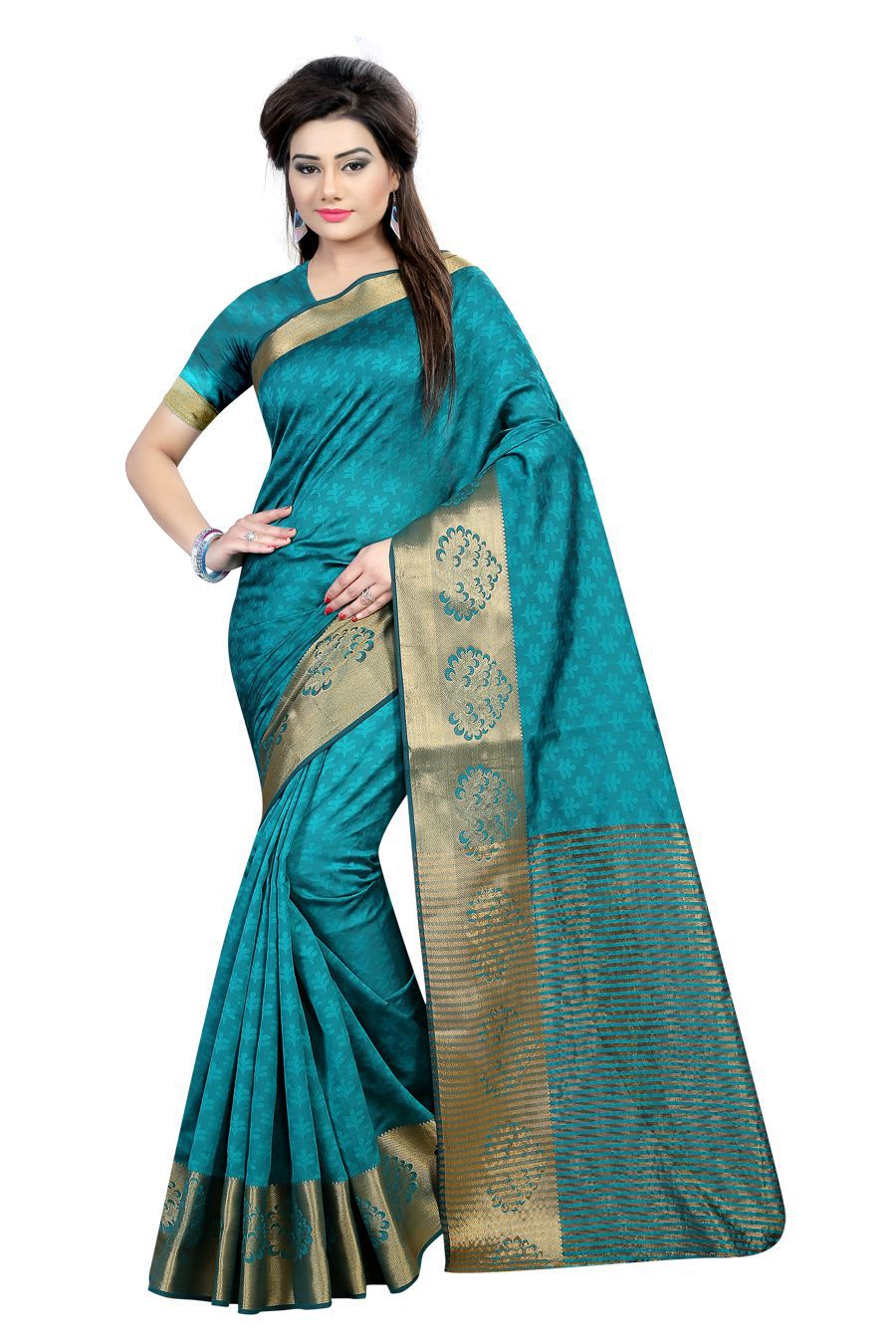 EK PRASANG Turquoise Cotton Poly Saree