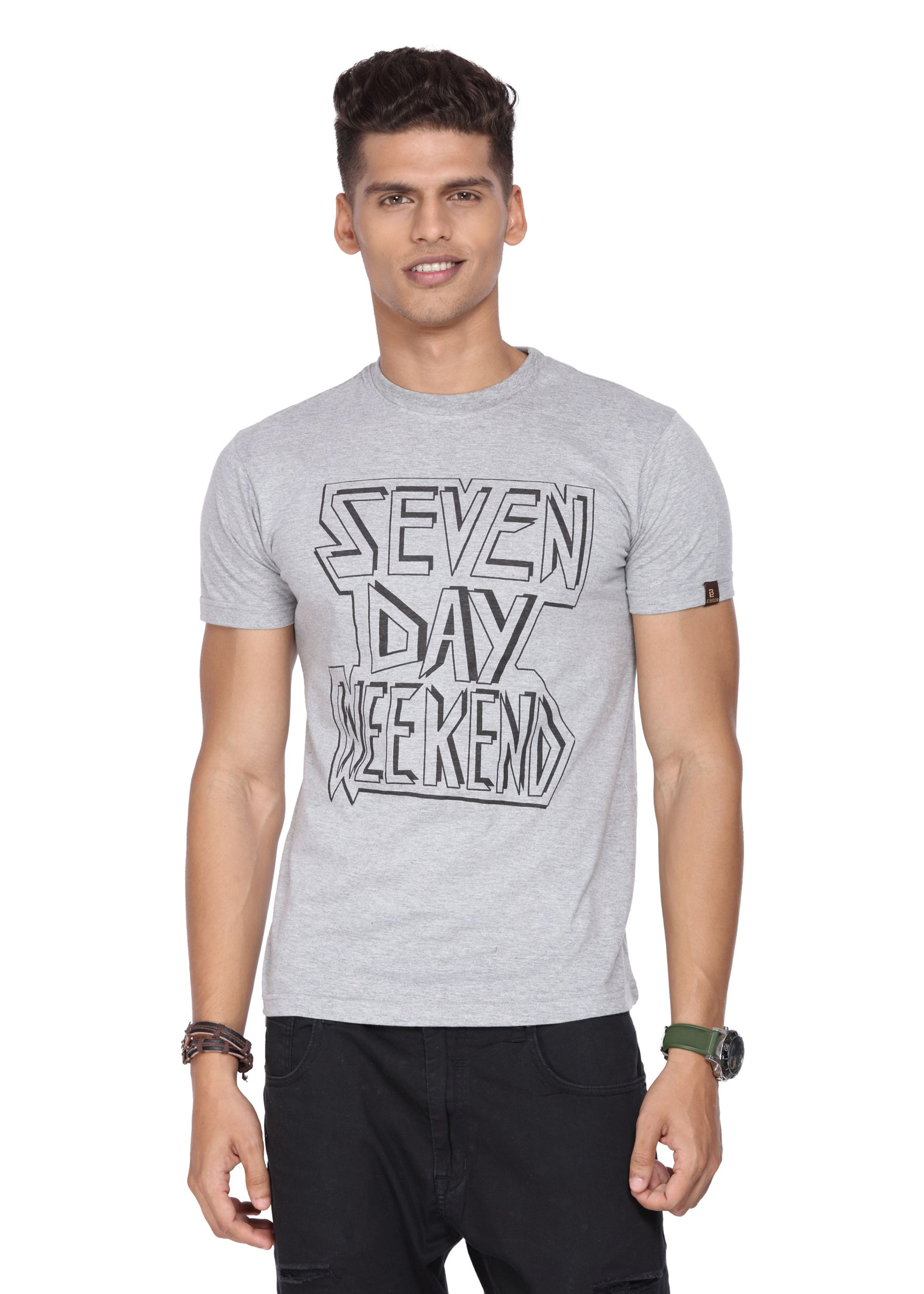 Le Bison Grey Round T-Shirt Pack of 1