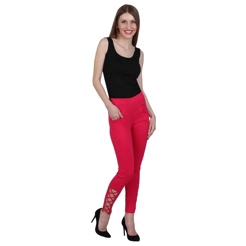 Makxziya Cotton Lycra Jeggings - Pink