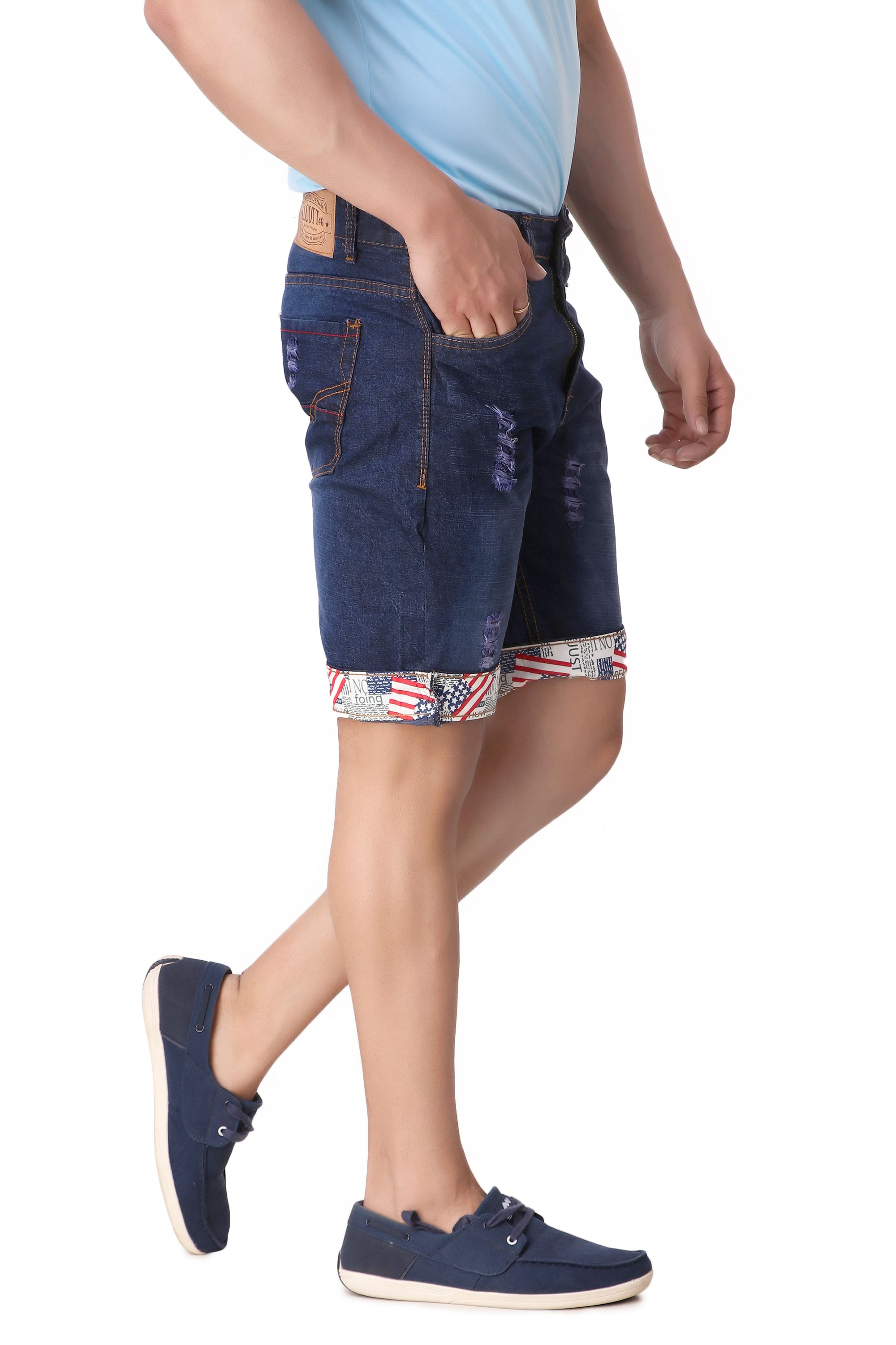 Vertical Denim Stretchable Shorts for Men and Boys