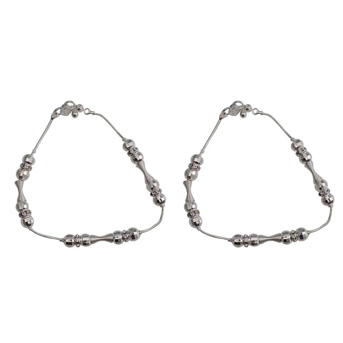 Taj Pearl Designer Silver Plated Anklets