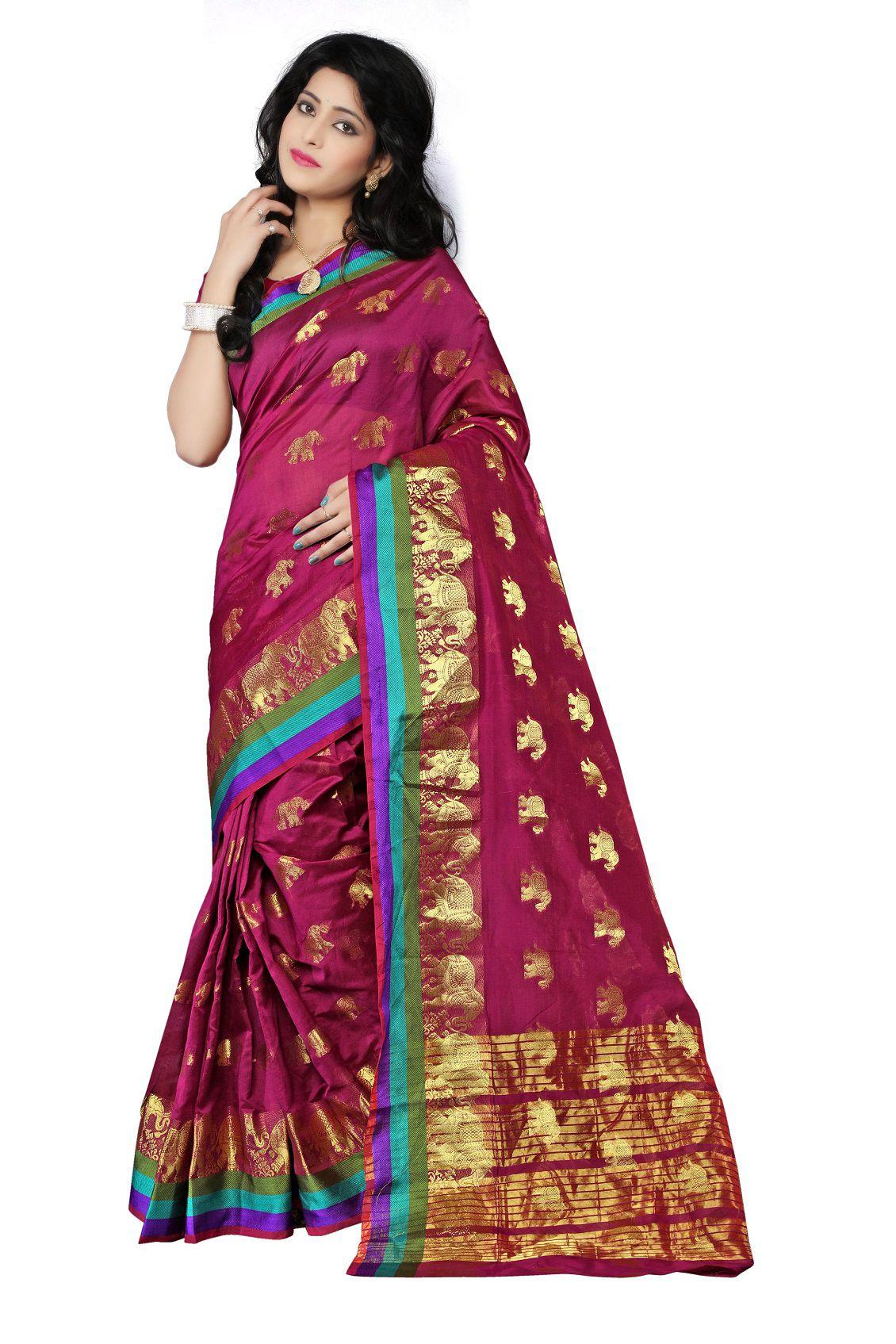 Trendy Hues Brown Cotton Saree