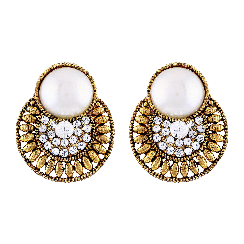 Asmitta Eye-Catchy Chandbali Gold Plated Oxidized Dangler Earring For Women