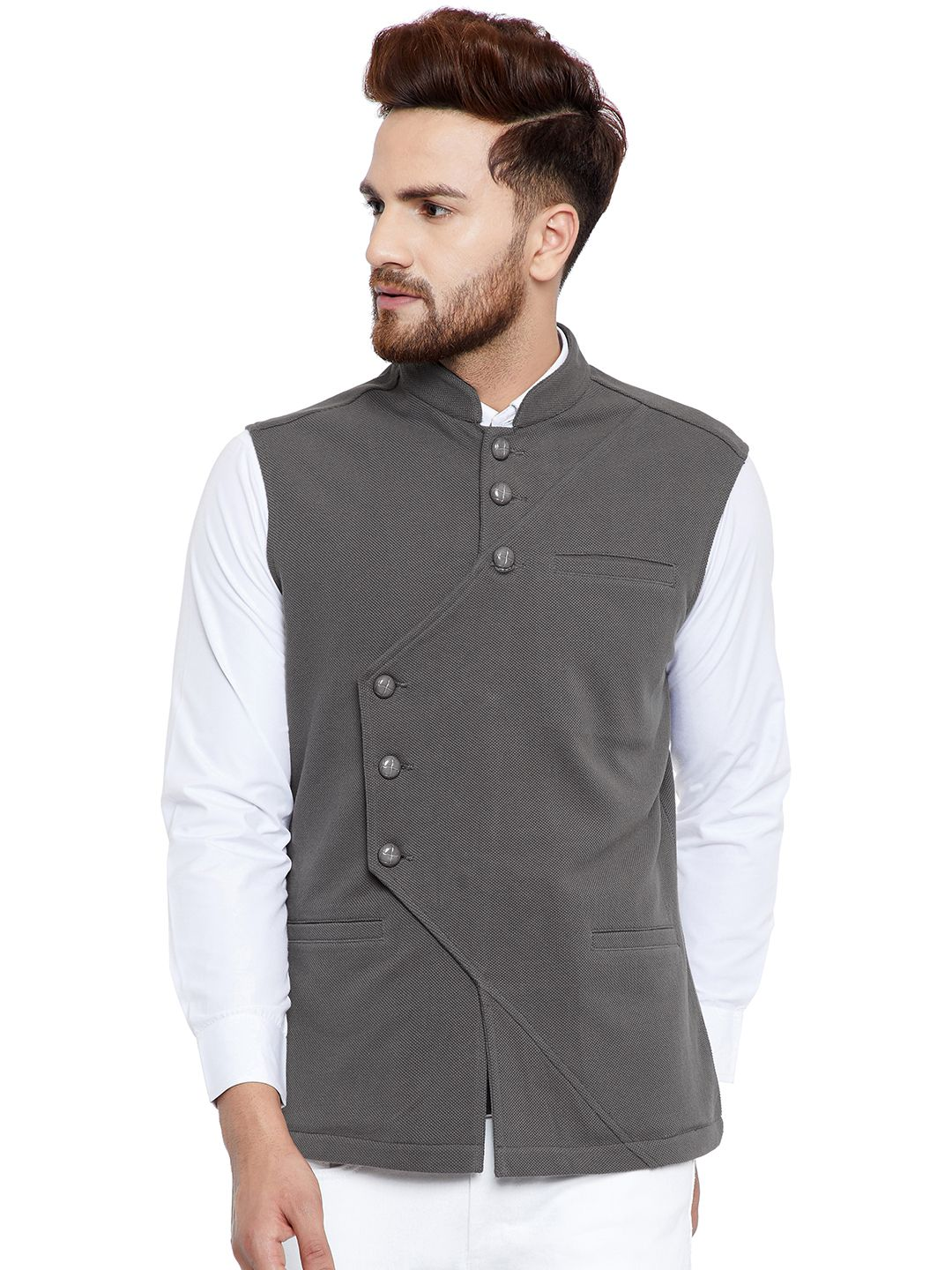 Hypernation Grey Cotton Nehru Jacket
