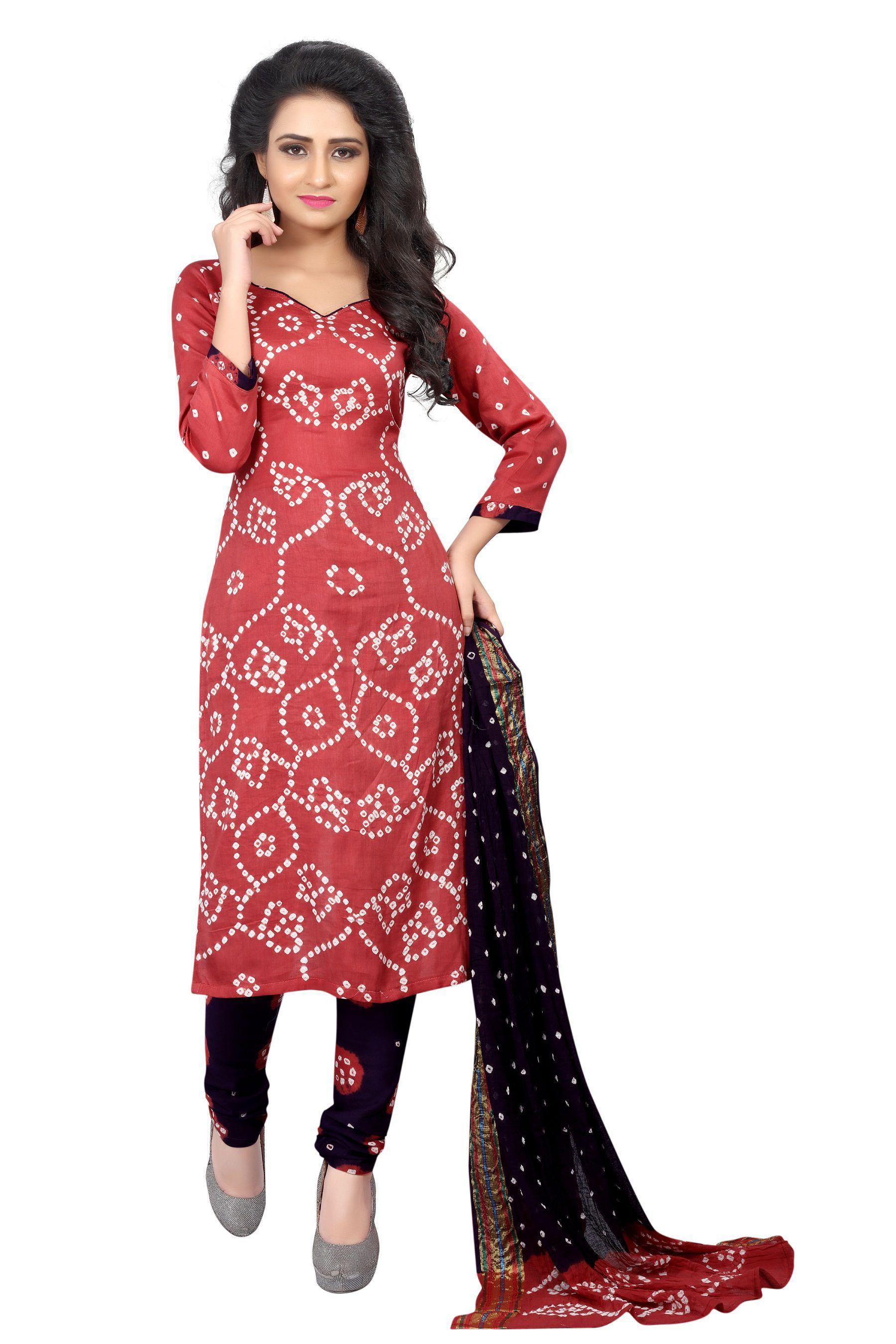 Wedding Villa Red and Black Satin Dress Material