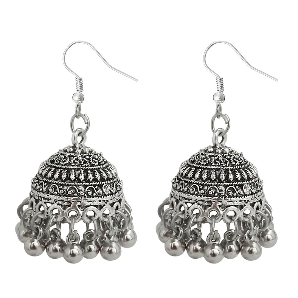 JewelMaze Silver Beads Oxidised Jhumki Earrings-1309364