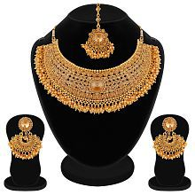 Apara Bridal Pearl LCT Stones Gold Necklace Set Jewellery For Women
