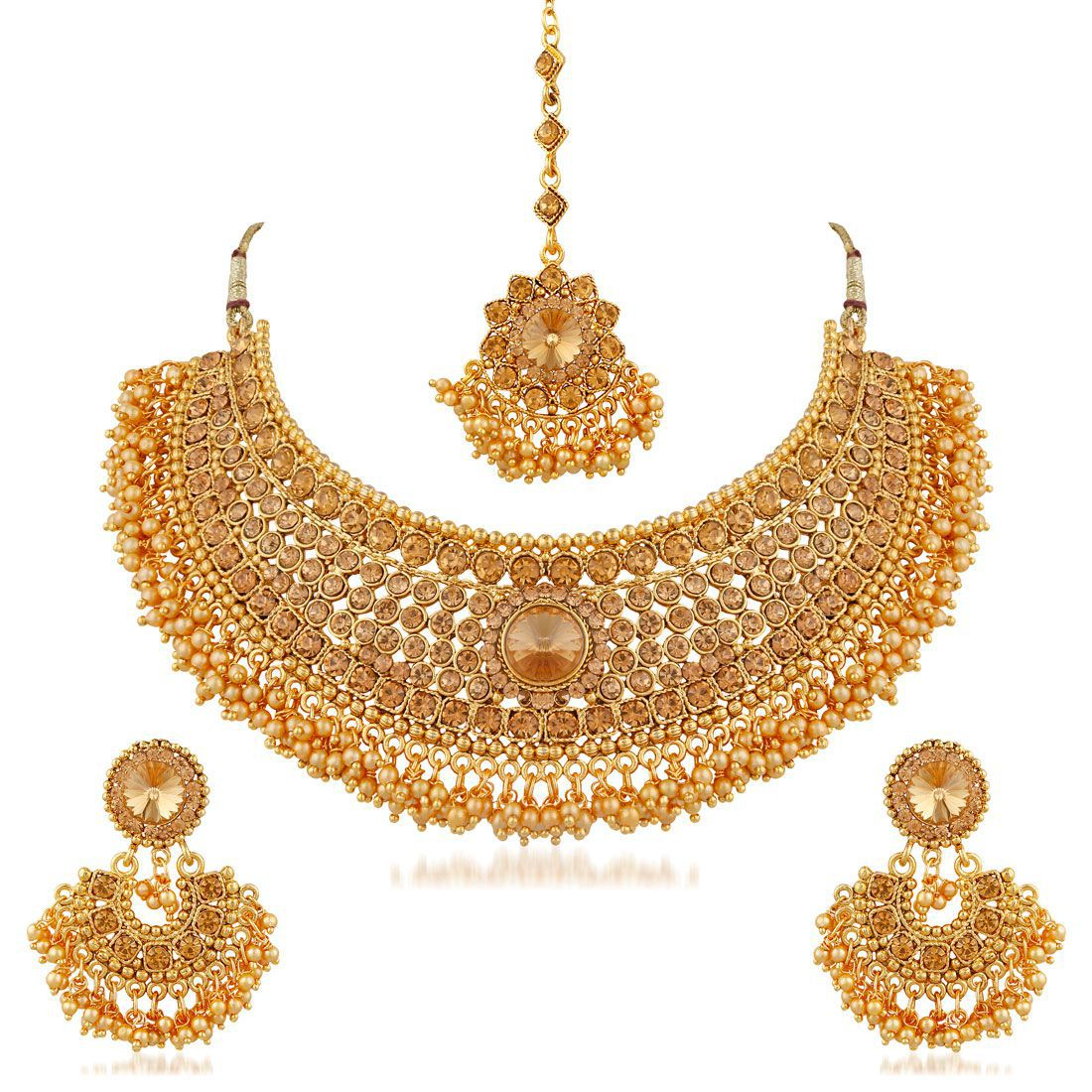 Apara Bridal Pearl Lct Stones Gold Plated Necklace