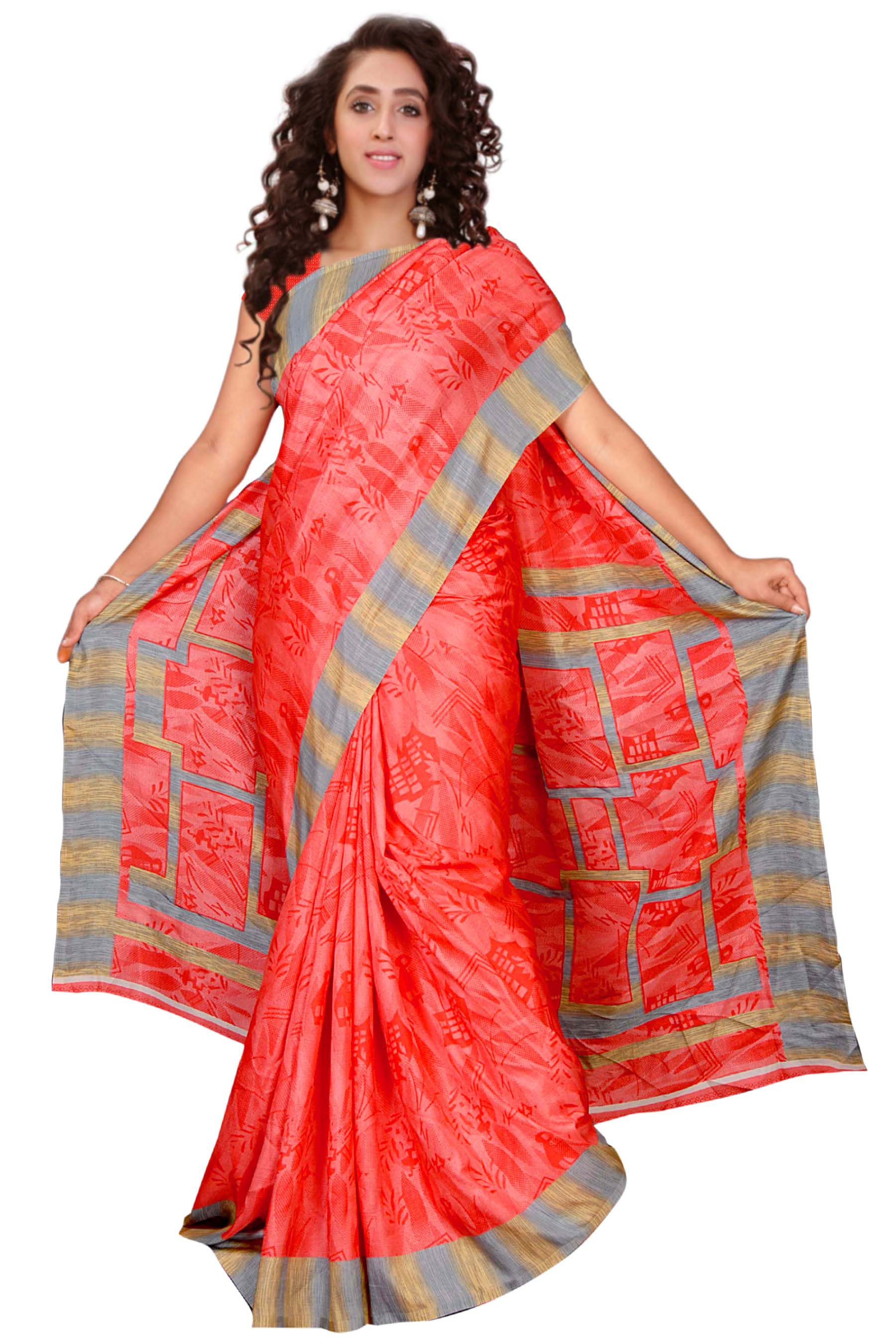 Blissta Red and Pink Silk Saree