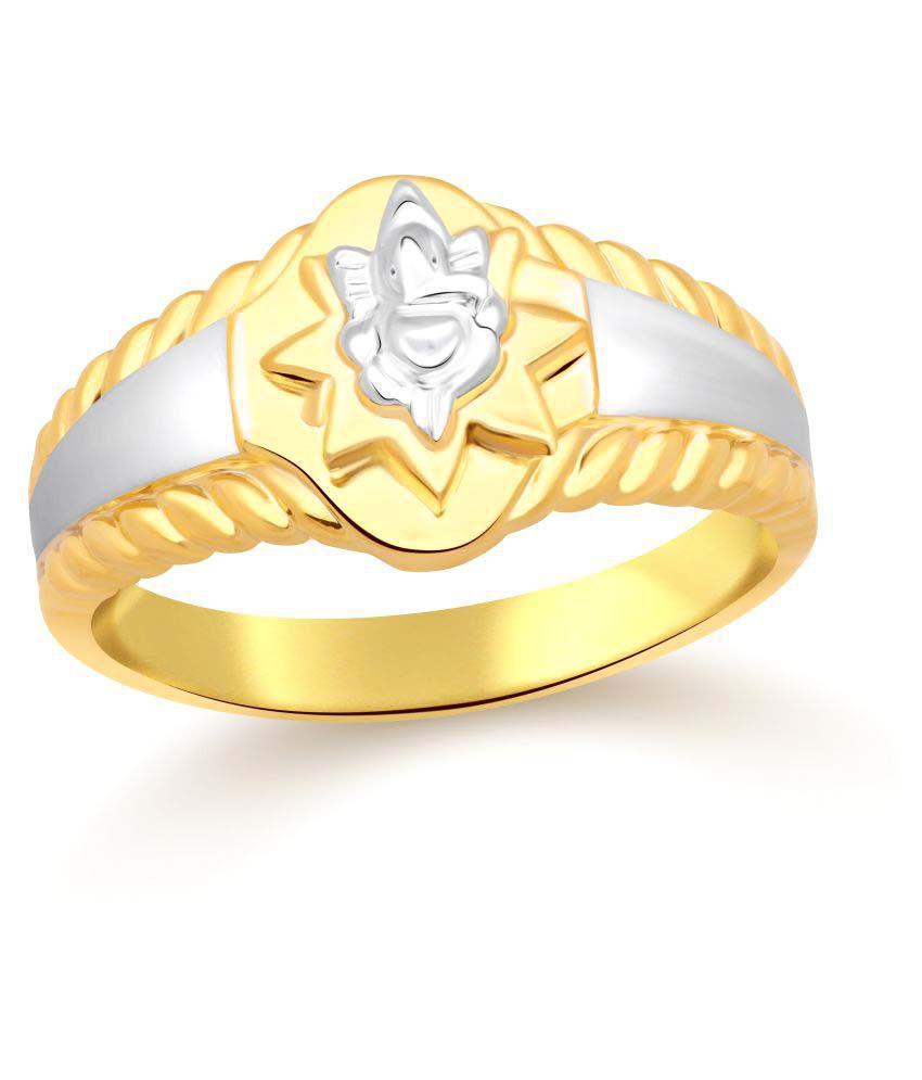 Classic Ganpati Plain Yellow Gold  Plated Ring for Men [CJ5029FRG18]