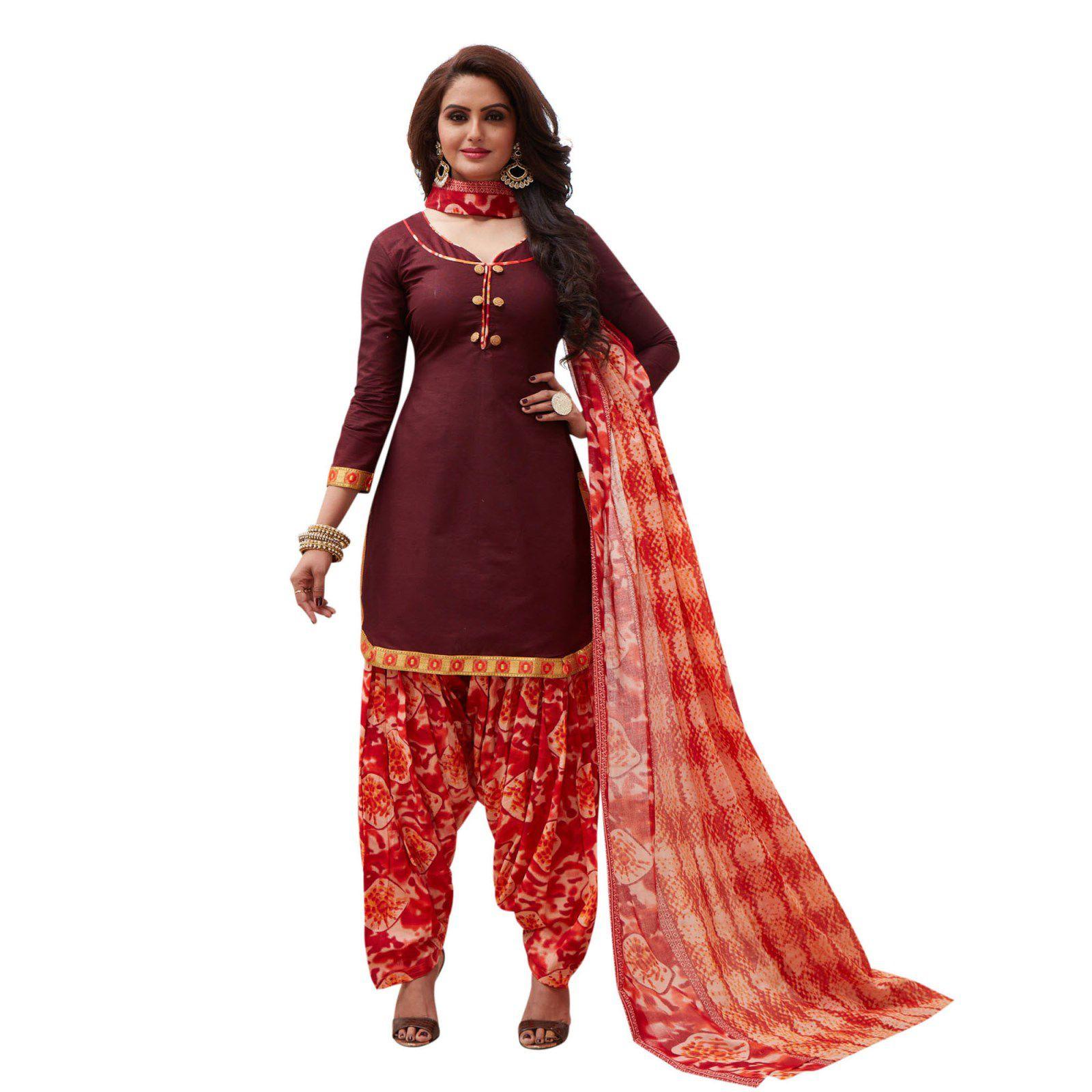 SALWAR HOUSE Brown Cotton Dress Material
