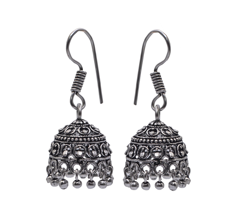 Jewelz Silver Oxidized Jhumki Jewelley With Silver Beads