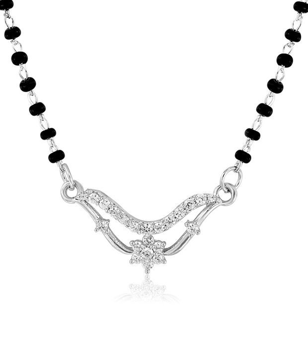 Mahi Rhodium Plated Pious Mangalsutra Pendant with CZ Stones PS1191955R