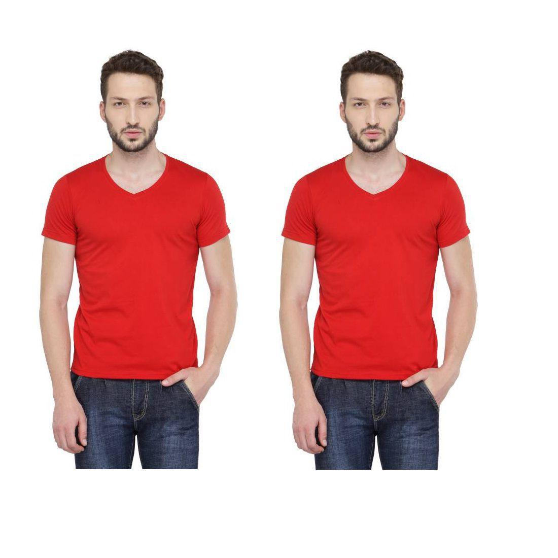 RAJBALLAVI Red V-Neck T-Shirt Pack of 2