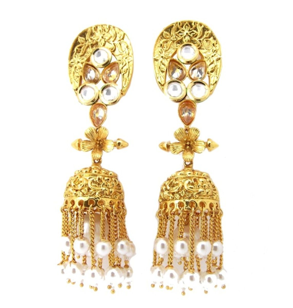 NAMI Floral Design Kundan Pearl Fligree Work Copper Gold Plated Jhumki Earrings