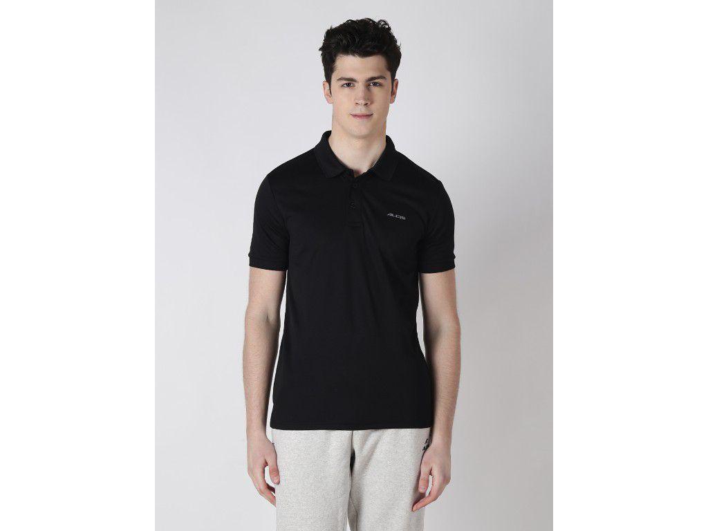 Alcis Mens Black Solid Polo Tshirt