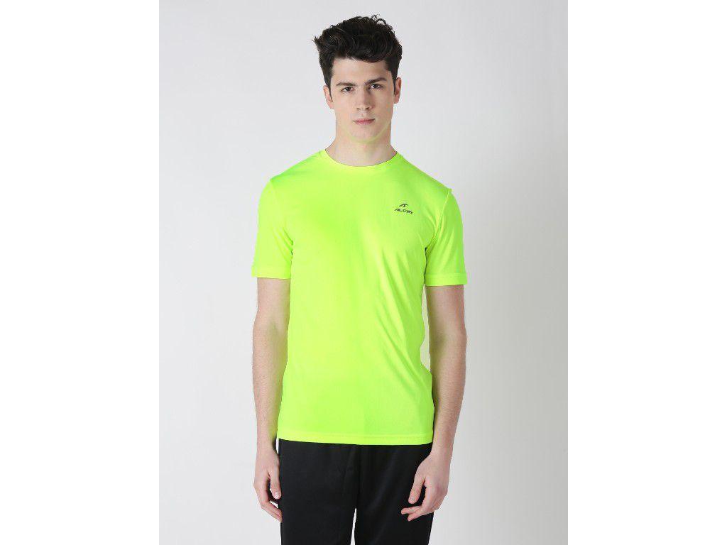 Alcis Mens Green Solid Tshirt