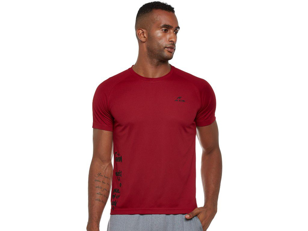 Alcis Mens Maroon Printed Tshirt