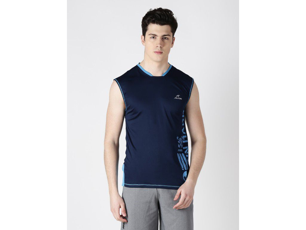 Alcis Mens Navy Blue Printed Sleeveless Tshirt