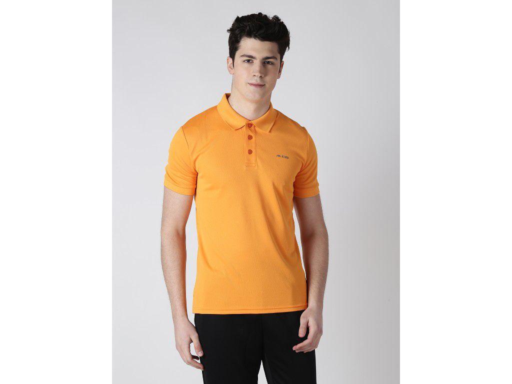 Alcis Mens Orange Solid Polo Tshirt