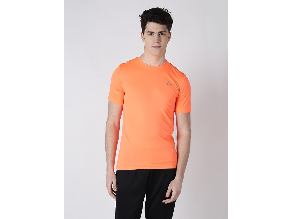 Alcis Mens Orange Solid Tshirt