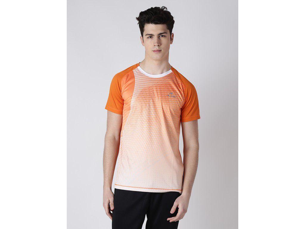 Alcis Mens Orange Solid Tshirt