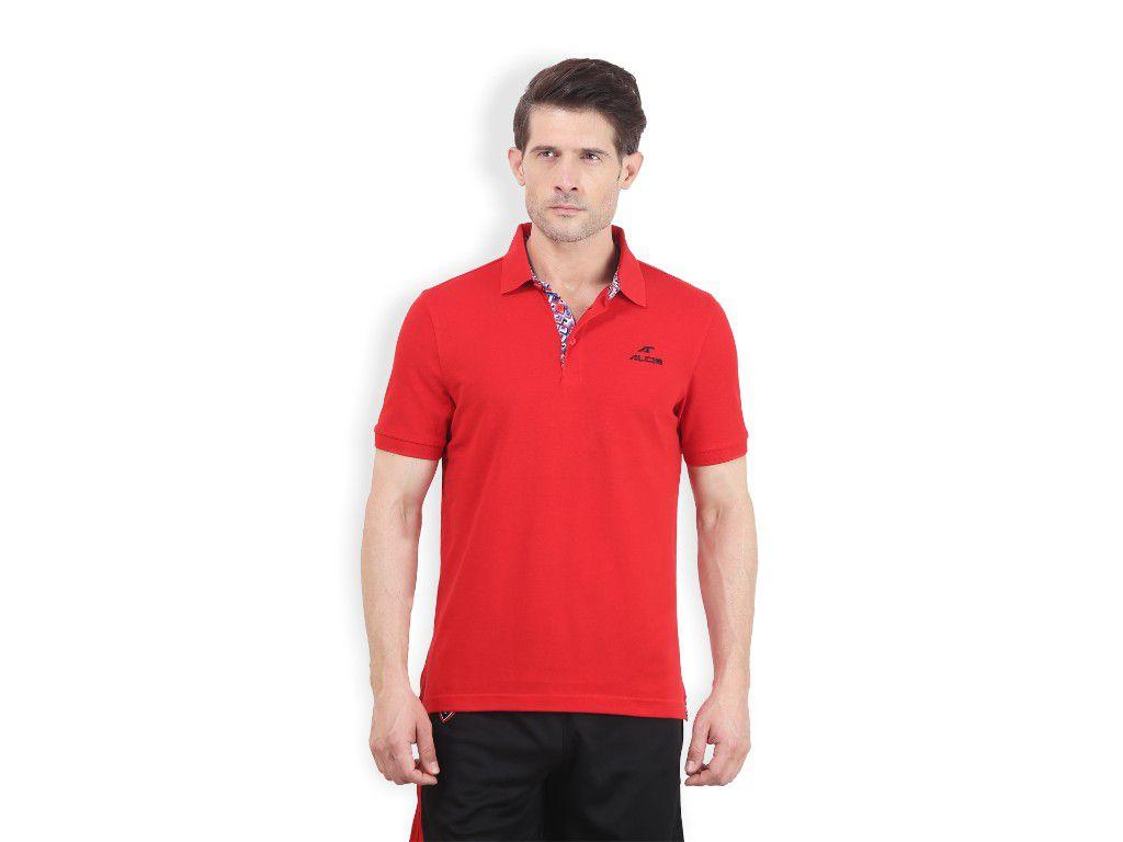 Alcis Mens Red Solid Polo Tshirt