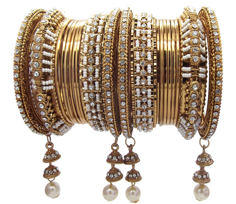 NAMI Wedding 20pc Bridal Antique Gold Plated Pearl Latkan Jhumka Chuda