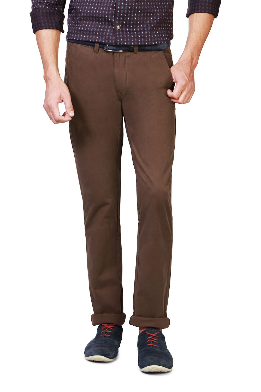 Peter England Brown Skinny -Fit Flat Trousers