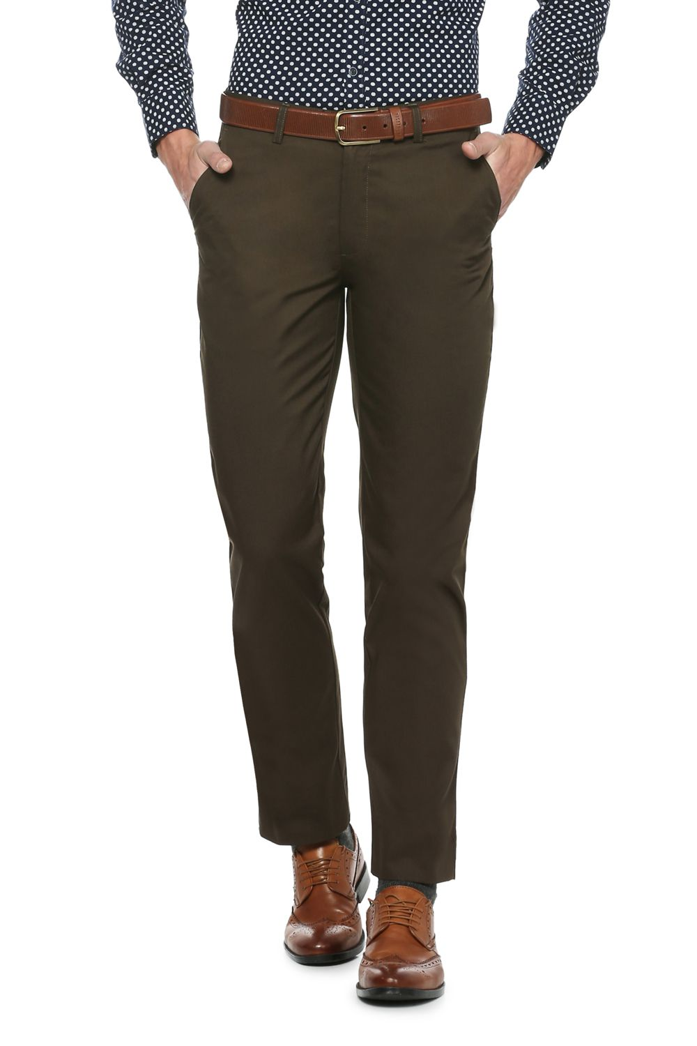 Peter England Brown Slim -Fit Flat Trousers