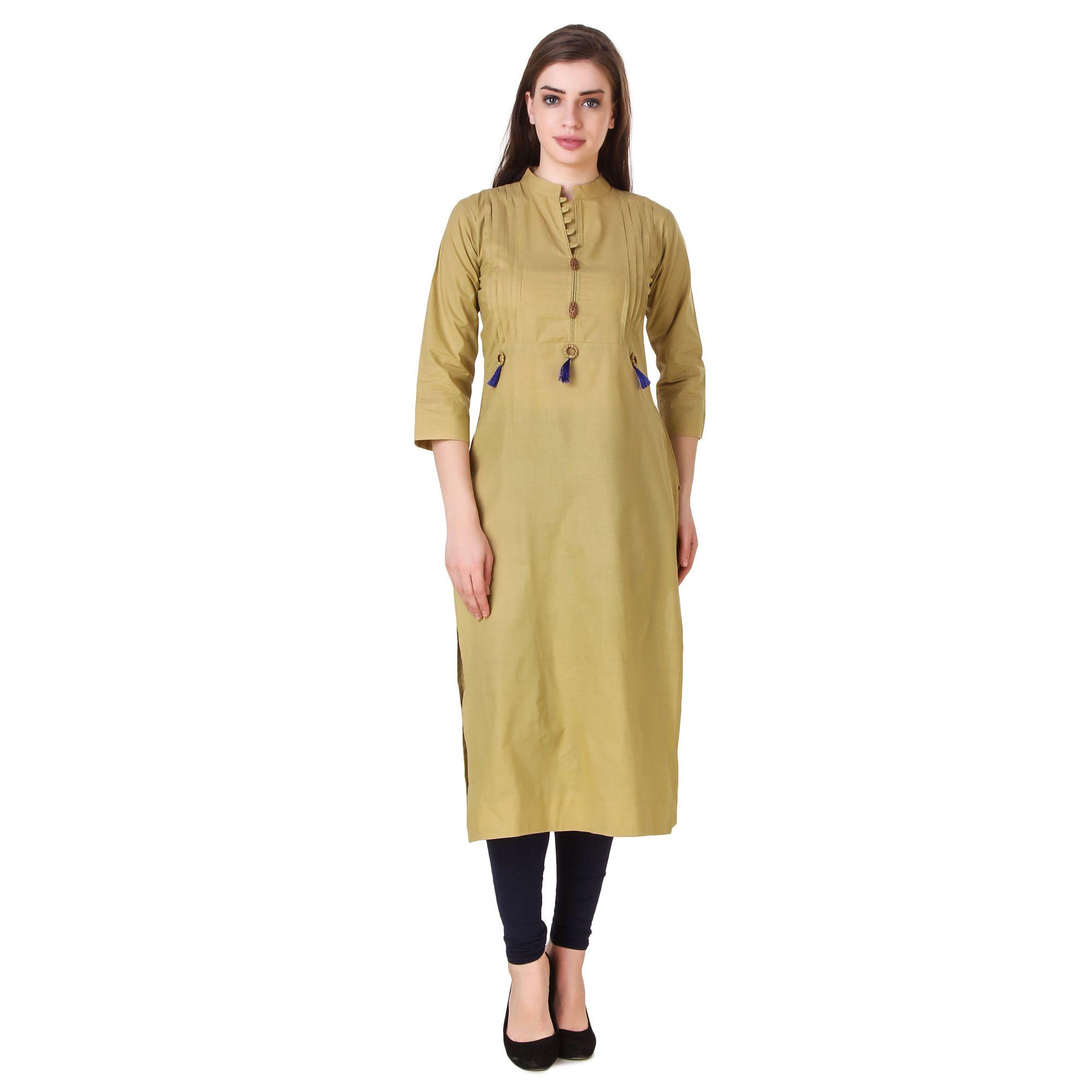 Satva-The Brand Khaki Cotton A-line Kurti