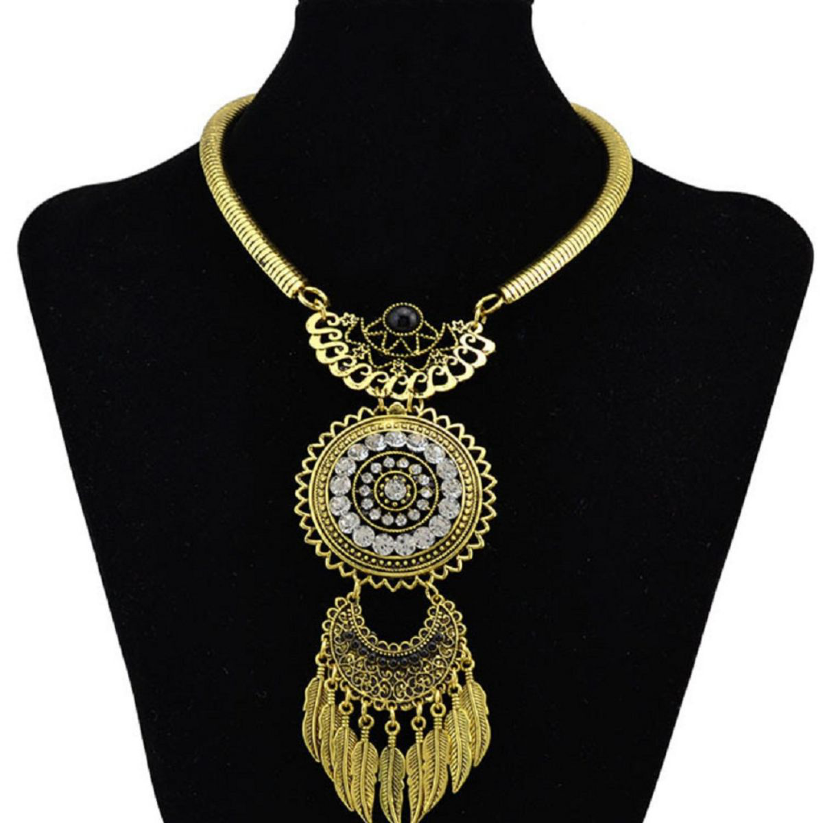 Women's Hollow diamond exaggerated tassel leaves Jewellery